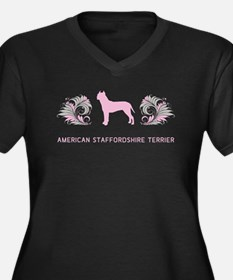 AmStaff Women's Plus Size V-Neck Dark T-Shirt