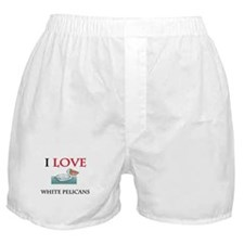 I Love White Pelicans Boxer Shorts