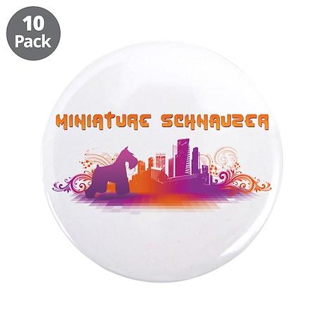 """City"" Miniature Schnauzer 3.5"" Button (10 pack)"