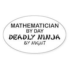 Mathematician Deadly Ninja Oval Decal