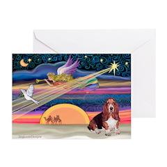 Xmas Angel - Basset Houn Greeting Cards (Pk of 10)