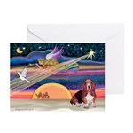 Xmas Angel - Basset Houn Greeting Cards (Pk of 20)