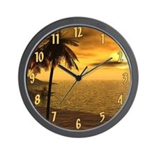 Palm Sunset Wall Clock