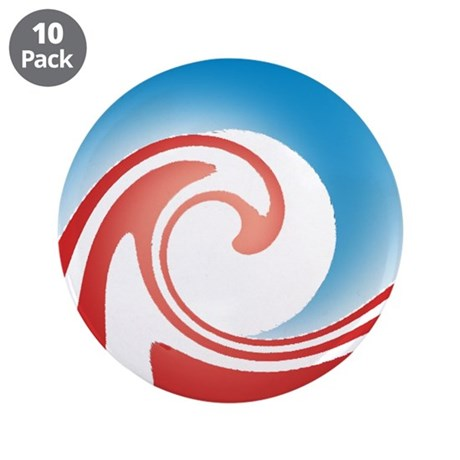 """Obama Wave 3.5"""" Button (10 pack)"""