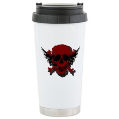 Red and Black Graphic Skull Travel Mug