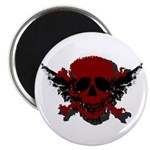 """Red and Black Graphic Skull 2.25"""" Magnet (10"""