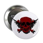 """Red and Black Graphic Skull 2.25"""" Button (10"""