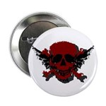"""Red and Black Graphic Skull 2.25"""" Button"""