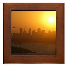 Sydney City Skyline Sunset Framed Tile