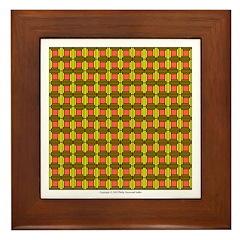 Brown And Yellow Latticework Framed Tile