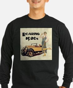 Flapper Lady and Fast Car - slogan Long Sleeve T-S