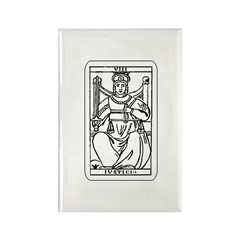 Vintage Justice Tarot Card Rectangle Magnet (10 pa