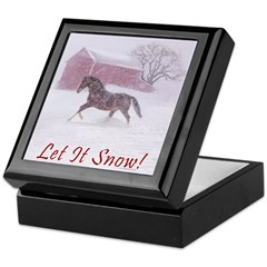 Let It Snow! Christmas Horse Barn Keepsake Box