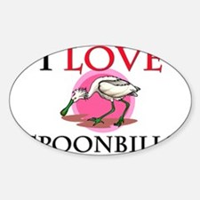 I Love Spoonbills Oval Decal