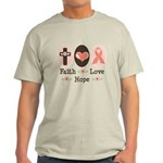 Faith Love Hope Pink Ribbon Light T-Shirt