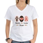 Faith Love Hope Pink Ribbon Women's V-Neck T-Shirt