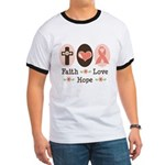 Faith Love Hope Pink Ribbon Ringer T