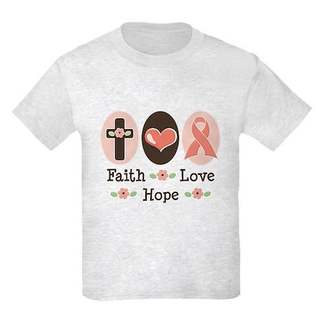 Faith Love Hope Pink Ribbon Kids Light T-Shirt