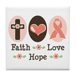 Faith Love Hope Pink Ribbon Tile Coaster