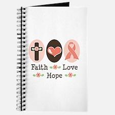 Faith Love Hope Pink Ribbon Journal