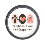 Faith Love Hope Pink Ribbon Wall Clock
