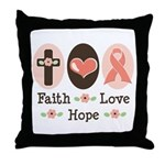 Faith Love Hope Pink Ribbon Throw Pillow