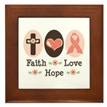 Faith Love Hope Pink Ribbon Framed Tile