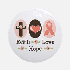Faith Love Hope Pink Ribbon Ornament (Round)