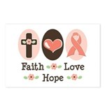 Faith Love Hope Pink Ribbon Postcards 8 Pack