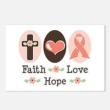 Faith Love Hope Pink Ribbon Postcards 8 Pack