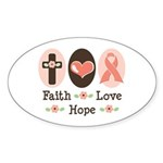Faith Love Hope Pink Ribbon Oval Sticker (10 pk)