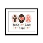Faith Love Hope Pink Ribbon Framed Panel Print