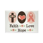 Faith Love Hope Pink Ribbon Rectangle Magnet (100