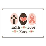 Faith Love Hope Pink Ribbon Banner