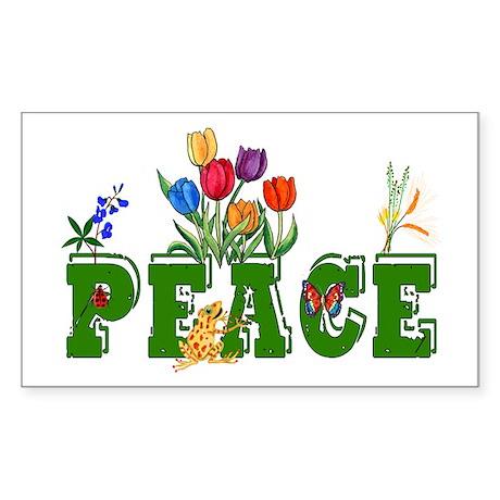 Peace Garden Rectangle Sticker