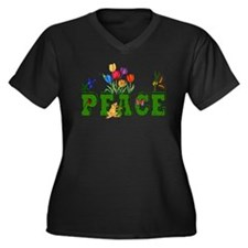Peace Garden Women's Plus Size V-Neck Dark T-Shirt