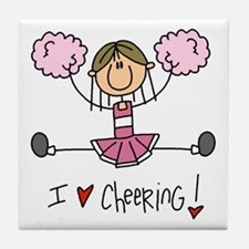 Pink Love Cheering Tile Coaster