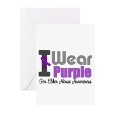 I Wear Purple (Elder Abuse) Greeting Cards (Pk of