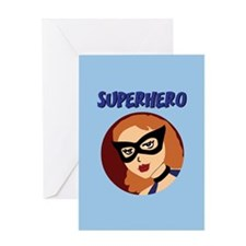 Retro Superhero Betty Greeting Card