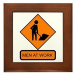 Men at Work Sign 2 - Framed Tile