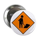 "Men at Work Sign 3 - 2.25"" Button (100 pack)"