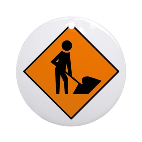 Men at Work Sign 3 - Keepsake (Round)