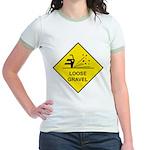 Yellow Loose Gravel Sign - Jr. Ringer T-Shirt