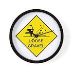 Yellow Loose Gravel Sign - Wall Clock