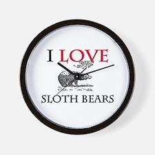 I Love Sloth Bears Wall Clock