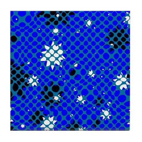 Floral Shagreen Pattern Tile Coaster