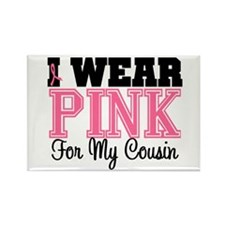 I Wear Pink Ribbon Cousin Rectangle Magnet (10 pac