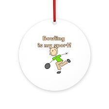 Stick Figure Bowling Ornament (Round)