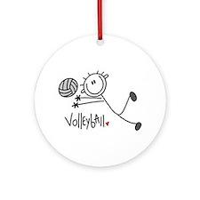 Stick Figure Volleyball Ornament (Round)
