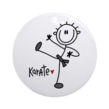 Stick Figure Karate Ornament (Round)